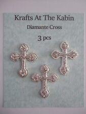 3 Diamante Silver Metal Cross Embellishments/Card crafts Christening