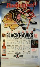 """1992-93 Chicago Blackhawks 18 x 30"""" Schedule Poster Budweiser"""