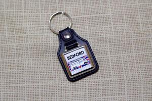 Bedford CA Keyring - Leatherette & Chrome Keytag