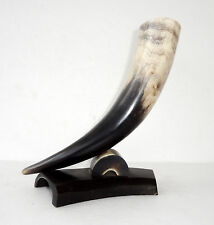 """VINTAGE 9"""" VIKING STYLE DRINKING HORN for WINE, BEER, MEAD * HUNTING LODGE RETRO"""