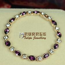 Bracelet Made With Swarovski Crystals 18Ct Rose Gold Gp Elegant Amethyst