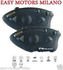 Coppia Interphone Midland Btx1 FM Moto Bluetooth per tutti Casco Jet/modulare