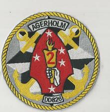 US NAVY PATCH - DD 826 USS AGERHOLM - HAS 2ND MARINE DIVISION INSIGNIA