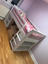 White Kids Bunk Bed Frame With Book Case And Desk