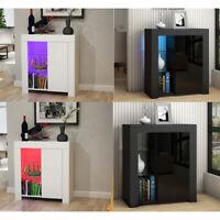 Modern High Gloss Door Matt Sideboard Storage Cupboard Display Cabinet LED Light