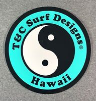 """T&C Town & Country Surf Designs Hawaii Sticker 6.5"""" LARGE Authentic T&C Teal"""