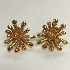Vintage CHRISTIAN LACROIX Gilt Metal Anemone Flower Clip-On Statement Earrings