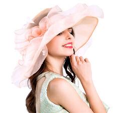 Pink Women Organza Church Derby Hat Ruffles Wide Brim Summer Bridal Cap