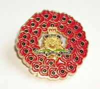 POPPY WREATH ROYAL ARTILLERY BADGE IN GOLD METAL