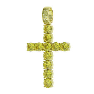 Men's Bling Gold Finish Yellow CZ Tennis Cross Crystal Jesus Pendant Icy Hip Hop