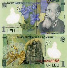 Romania 1 Leu Polymer UNC Banknote