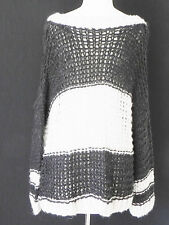 New Free People Sweater EXTRA OVER-SIZED Woolblend Off black/Light gray Size M