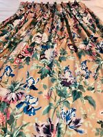 VTG LOVELY*TAN PURPLE BLUE CHINOISERIE GARDEN FLORAL PLEATED CURTAINS DRAPES 6PC