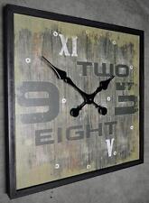 Wanduhr Küchenuhr Uhr QUADRAT Vintage Shabby Landhaus 45 x 45 cm LV ZAHLEN BRAUN