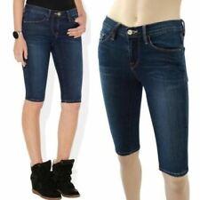 FRAME DENIM Blue Med Wash Cotton Shorts 'Le Skinny De Jeanne' Bermuda Denim 26