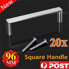 20x Kitchen Cabinet Bathroom Cupboard Square Stainless Steel Door Handle 96MM AU
