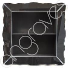 Scalloped Smoked Glass Wall Shelving Display Unit Shelf Lounge Hall