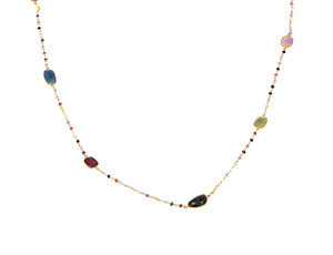 """RARITIES 64.90ctw Multi-Color Sapphire Beaded Station 44"""" Necklace - NWT"""