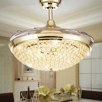 Crystal Invisible Ceiling Fans LED Chandeliers Home Lighting Pendant Lamp Decor