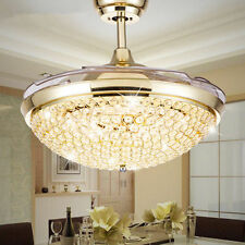 Modern Crystal Invisible Ceiling Fan LED Light Dining Room Fan Chandelier Lamp