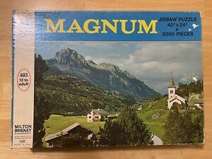 VINTAGE MAGNUM JIGSAW PUZZLE SWITZERLAND MILTON BRADLEY 2000 Piece Swiss Alps