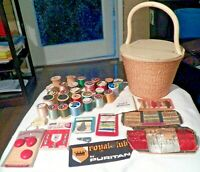 Real Nice Vintage Sewing Basket w Wooden Lid & Everything Inside (see Pictures)