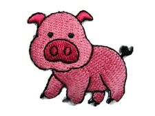 Chubby Pink Piglet Embroidered Iron On Patch 1.5 Inches