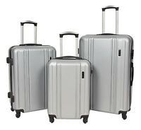 Strong 4 Wheel Luggage ABS Hard Shell Lightweight Digit Lock Silver Travel Bag