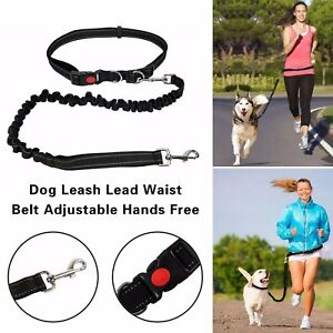 Adjustable Hands Free Leash Dog Lead With Waist Belt For Jogging Walking Running