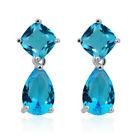 Women 925 Sterling Silver Blue Sapphire Topaz Hook Drop Dangle Earrings Jewelry
