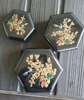 Vintage All Purpose Hexagon Boxes - Set of 3 in original box- Oriental Keepsake