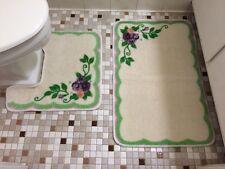 2 Pc.Classic Vintage Flower Bouquet Garland Country Victorian Bath Rug Mat Set