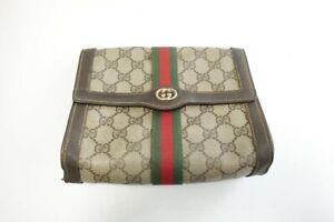 Authentic Vintage Gucci Canvas PVC Clutch bag Pouch #10097