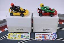 BUM SLOT CAR 2 PACK OF GO CARTS YELLOW AND RED # 1001 AND 1002 WITH STICKERS