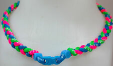 "NEW! 20"" Custom Clasp Braided Sports Neon Green Pink Light Blue Tornado Necklace"