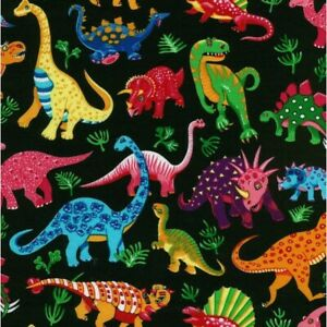 Black DINOSAUR DANCE Cotton fabric craft kids boys t-rex diplodocus Nutex bright