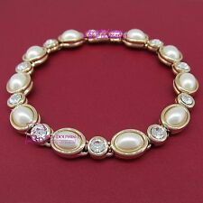Real Solid Women Gril 18K Yellow Gold GF Bracelet Bangle Simulated Diamond Pearl