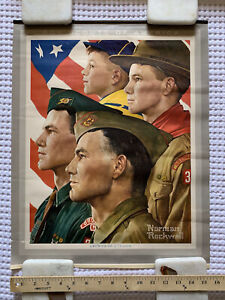 """Norman Rockwell Boys Scouts Of America """"GROWTH OF A LEADER"""" Calendar Poster 1966"""