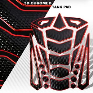 24PC CUSTOM 3D FUEL/GAS TANK PAD PROTECTOR DECAL PERFORATED BLACK+CHROMED RED