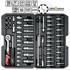 """Socket Set 1/4"""" liberación rápida 56 un. como unidad CrMo 440/S2/CRV Acero YT-14501"""