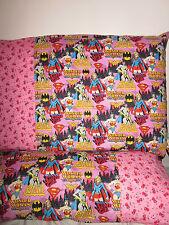 Bat/supergirl wonder woman pattern 100% new Cotton handmade Pillowcase one pair