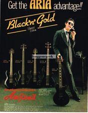 1982 ARIA PRO II Black & Gold Electric Guitars Vtg Print Ad
