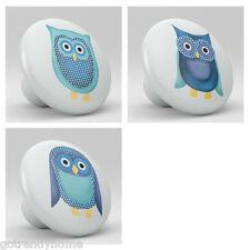 Set of 3 Penguin Owl Whimsical Animal Ceramic Knobs Kitchen Drawer Cabinet 781
