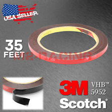 Genuine 3M VHB #5952 Double-Sided Mounting Foam Tape Automotive Car 6mm x 35FT