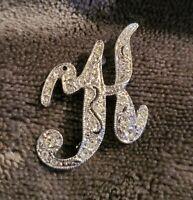 Vintage MONET Diamante Silvertone Initial Letter K Brooch Pin