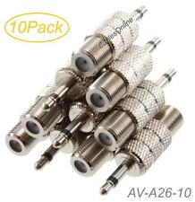 "10Pack 3.5mm (1/8"") TS Male to F-type Female Coaxial Metal Adapter, AV-A26-10"