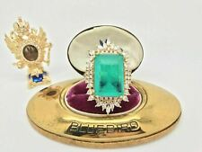 WORLD LARGEST 50CT NATURAL NEON COLOMBIAN EMERALD MUZO BALLERINA RING SIZE 7