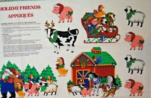 """Farm Barnyard Holiday Friends Applique Christmas Cotton Quilting Panel 18"""" X 42"""""""