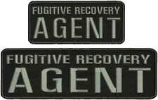 fugitive recovry agent  Embroidery Patch 3x10 And 2.5x6 hook  ON BACK blk/GRAY