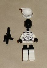 x1 Lego New CLONE Minifig BRAND NEW STAR WARS TROOPER w/ blaster & BLACK HEAD